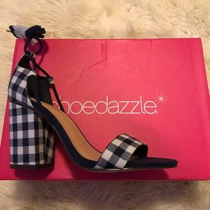 Navy and white gingham high heeled sandals